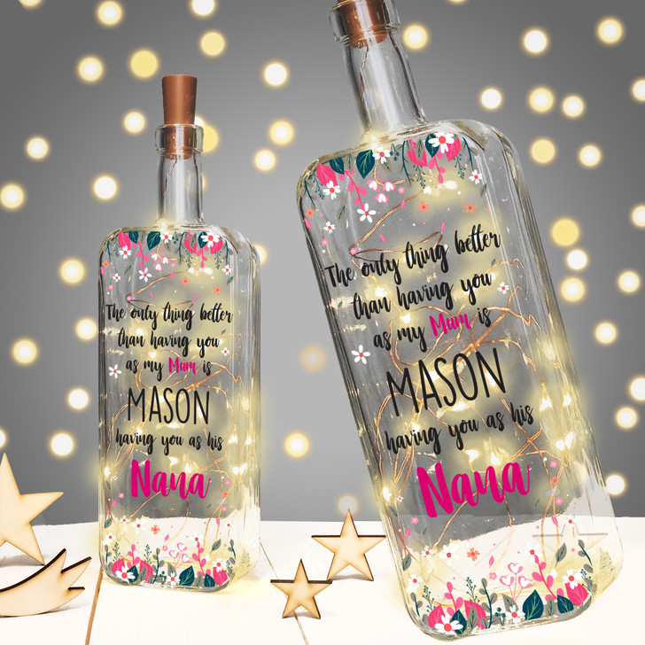 Personalised Light Up Bottle Mother's Day or Birthday Gift For Nana