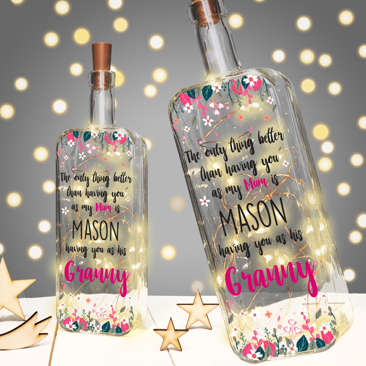 Personalised Light Up Bottle Mother's Day or Birthday Gift For Granny