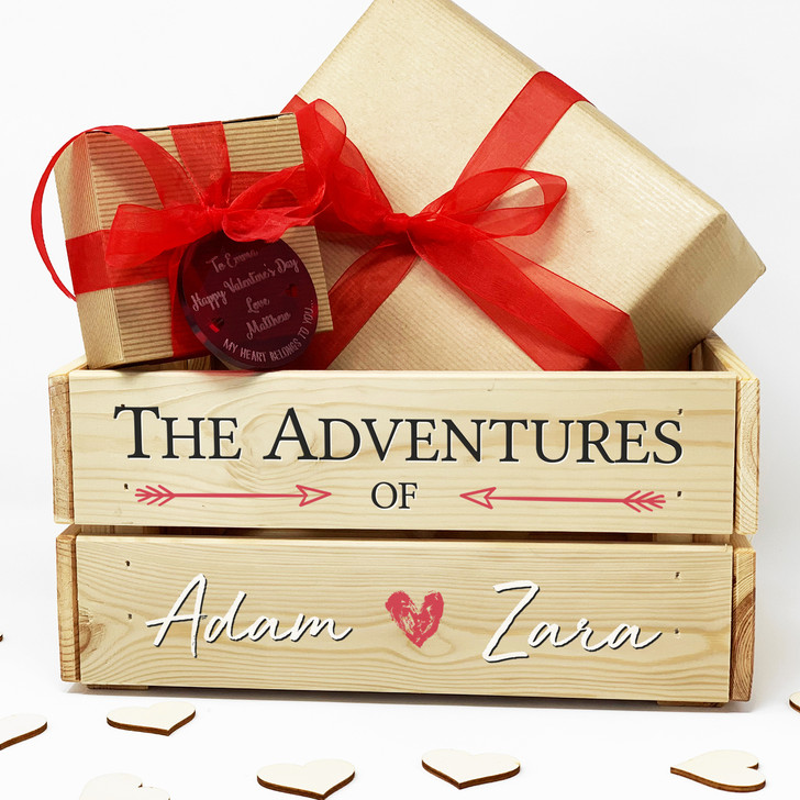 Personalised Couples Adventures Wooden Keepsake Gift Crate, Anniversary, Wedding, Valentine's Day Gift Box