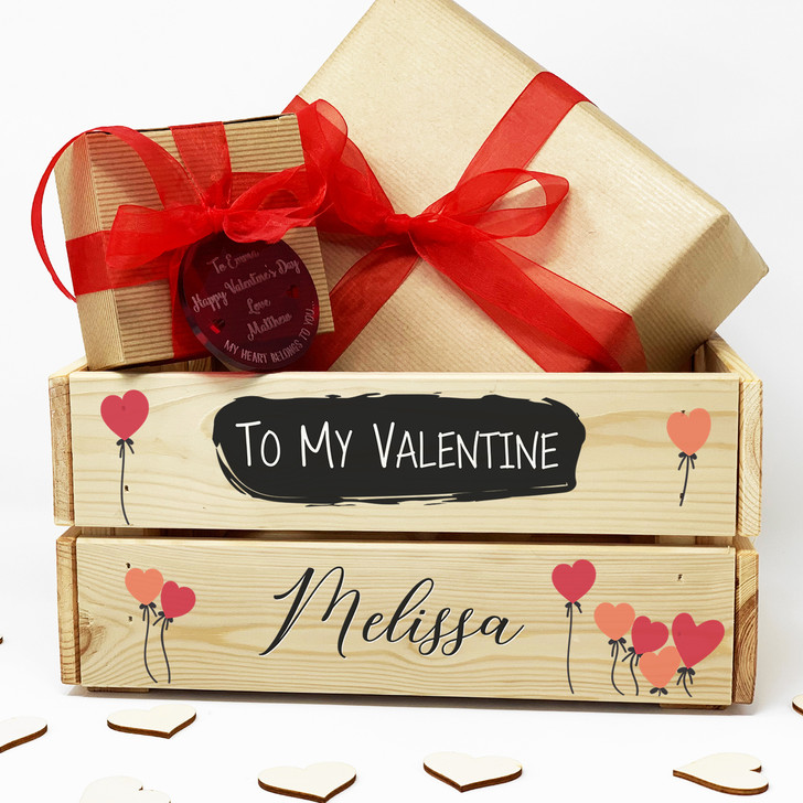 Personalised Wooden Valentine's Day Gift Crate, To My Valentine Gift Box