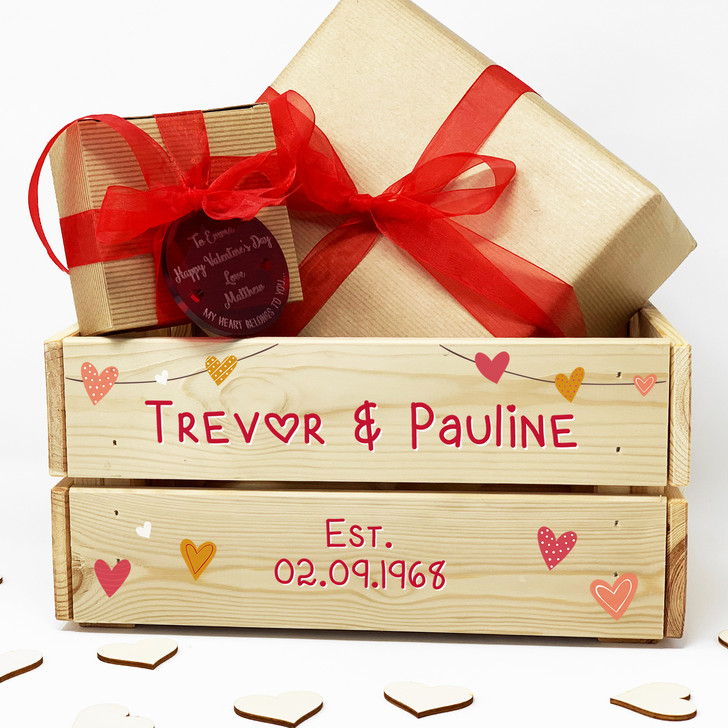 Personalised Valentine's Day Gift Crate, Anniversary, Wedding Wooden Gift Box