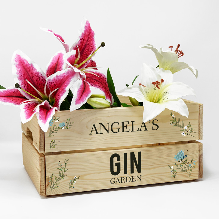 Personalised Gin Garden Wooden Cocktail Gift Crate, Anniversary, Birthday, Wedding Present