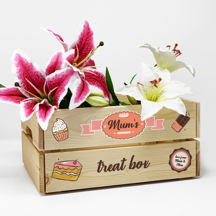 Personalised Treat Box Wooden Gift Crate For Birthday, Mother's Day, Christmas, Wedding or Anniversary