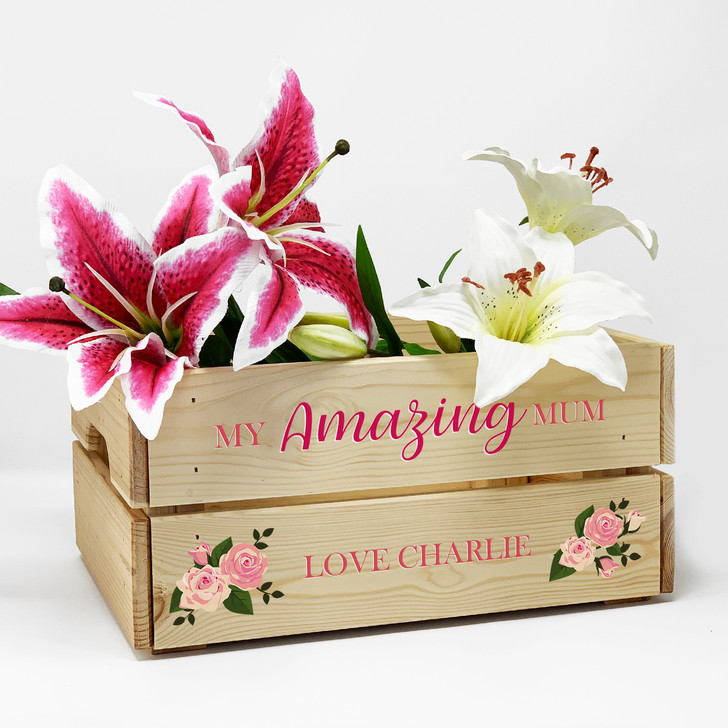 Personalised My Amazing Mum Wooden Crate Mother's Day, Birthday, Thank You Gift Box