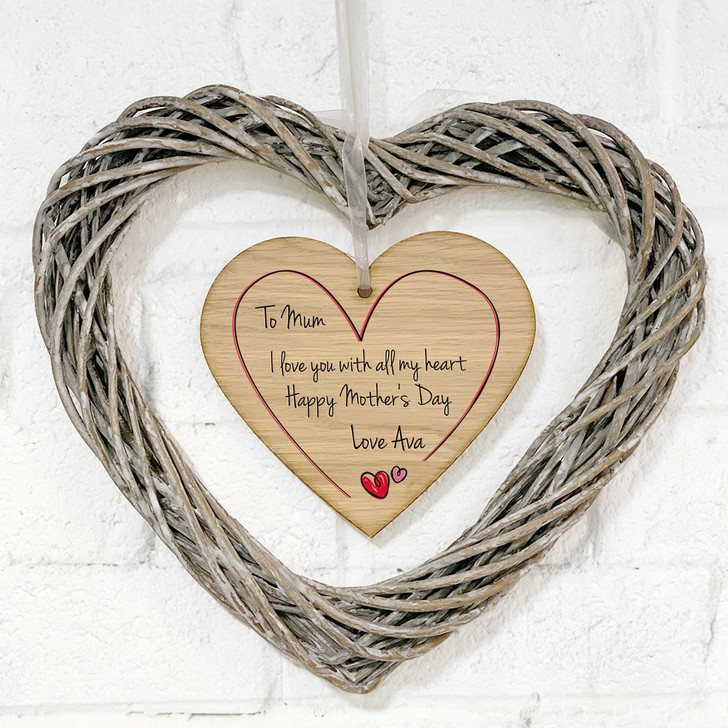 Personalised Hanging Wicker Heart Wreath - Mother's Day Gift