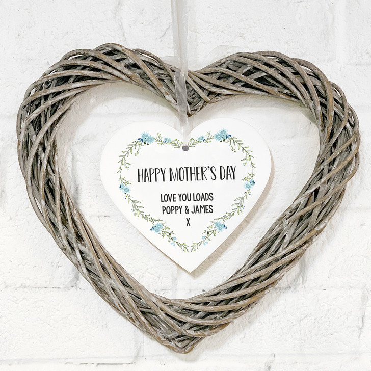 Personalised Hanging Wicker Heart Wreath - Floral Mother's Day Gift