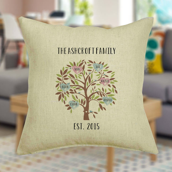Family Tree Cushion Cover Personalise with Up To 16 Names with Surname and Date
