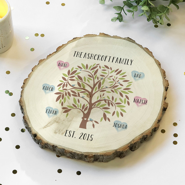 Family Tree Wooden Log Slice Personalise with Up To 16 Names with Surname and Date