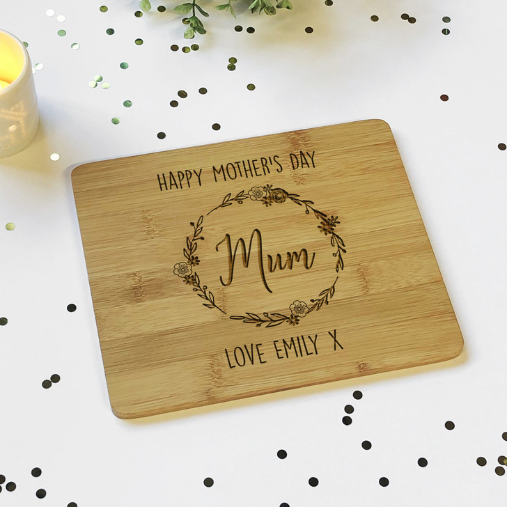 Personalised Happy Mother's Day Wooden Bamboo Chopping Board Gift