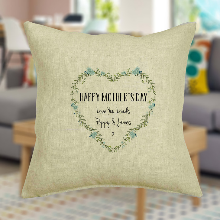 Personalised Mother's Day Floral Heart Wreath Cushion Cover