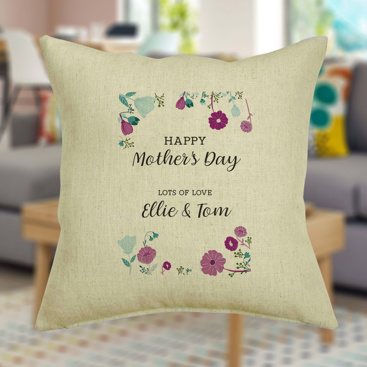 Personalised Mother's Day Flowers And Foliage Cushion Cover