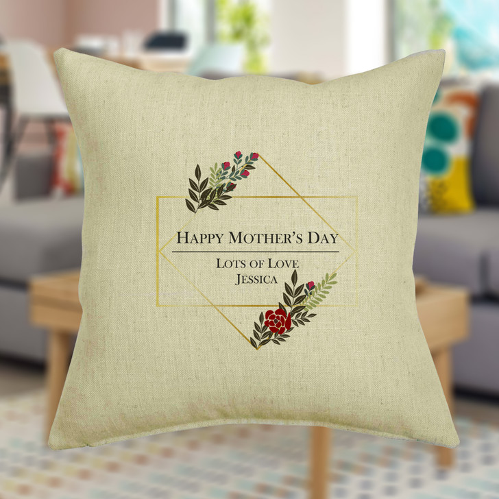 Happy Mother's Day Personalised Floral Cushion Cover