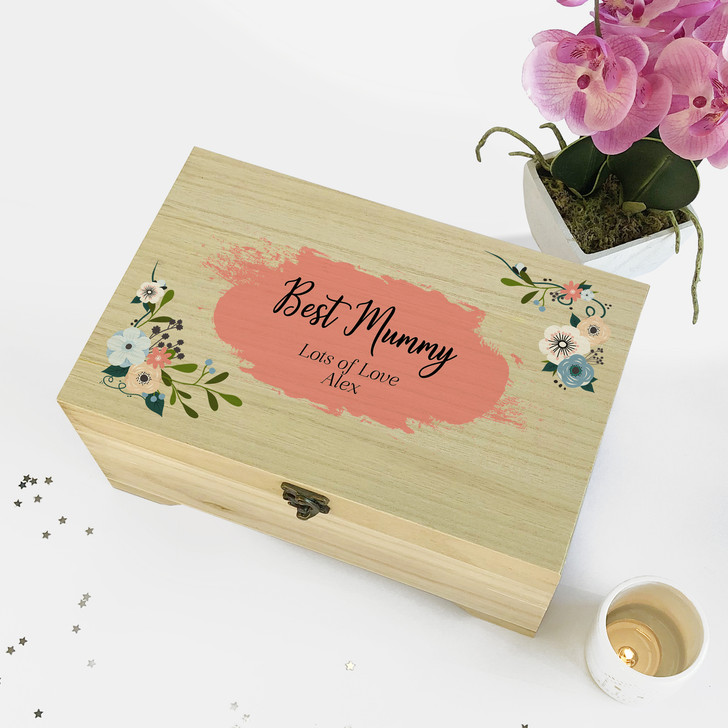 Personalised Floral Wooden Jewellery Box...Best Mum Birthday's Gift