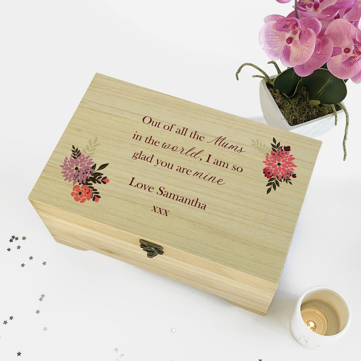 Out Of All The Mums In The World...Personalised Wooden Mother's Day Jewellery Box