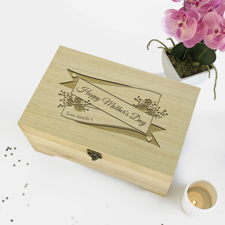 Personalised Happy Mother's Day...Wooden Engraved Jewellery Box Gift