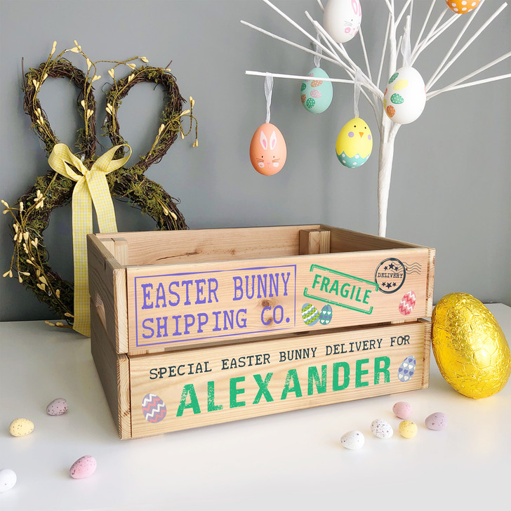Personalised Wooden Easter Egg Crate, Special Delivery Box From The Easter Bunny
