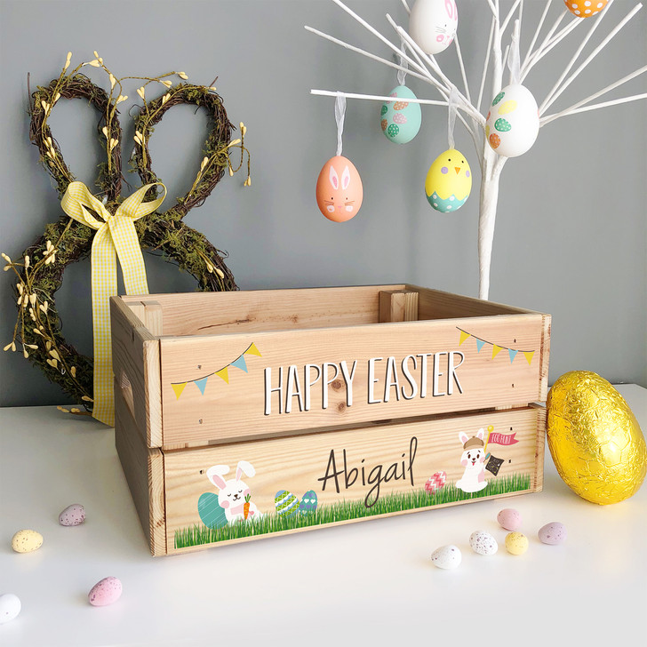 Happy Easter Personalised Bunny Rabbit Crate...Easter Egg Hamper Gift Box For Kids