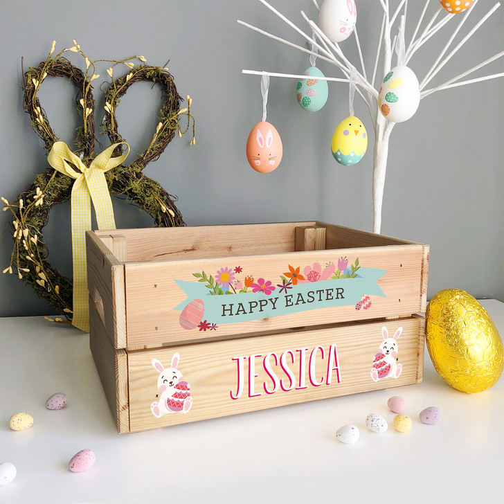 Personalised Easter Bunny Rabbit Flower Crate, Easter Egg Box Gift For GIRL