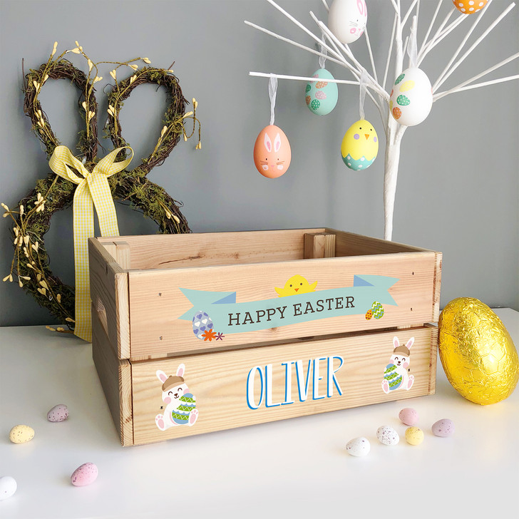 Personalised Easter Bunny Rabbit & Chick Crate, Easter Egg Box Gift For BOY