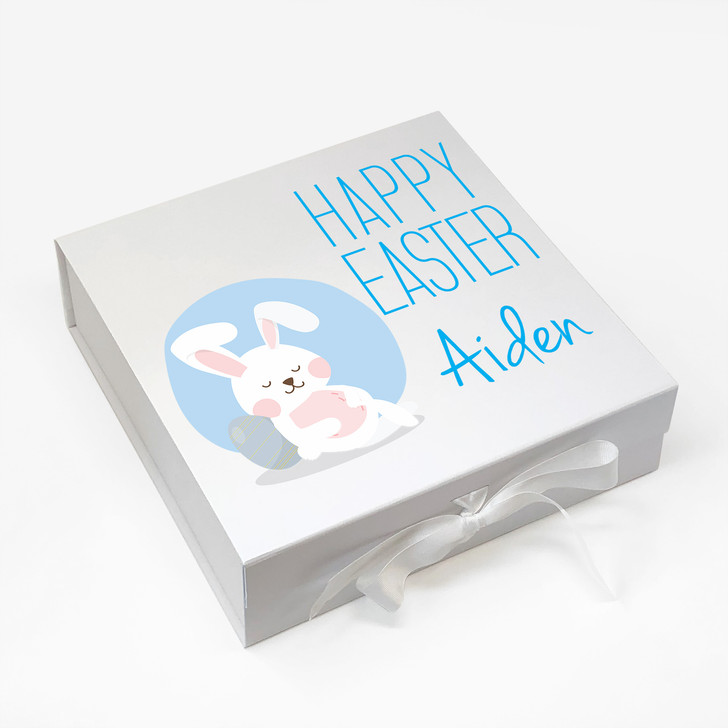Personalised Childrens Easter Egg Gift Box...Easter Bunny Rabbit Box For BOY