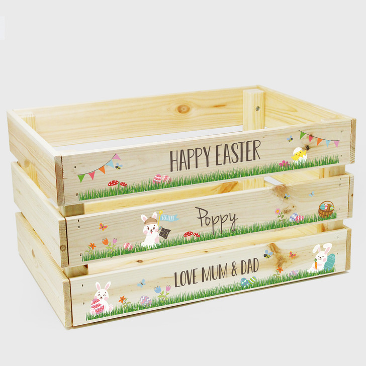 Personalised Large Wooden Family Easter Crate, Easter Egg Hamper Gift Box