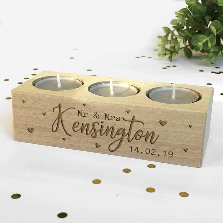 Personalised Tea Light Candle Holder Mr & Mrs Surname and Date, Wedding or Anniversary Gift Idea