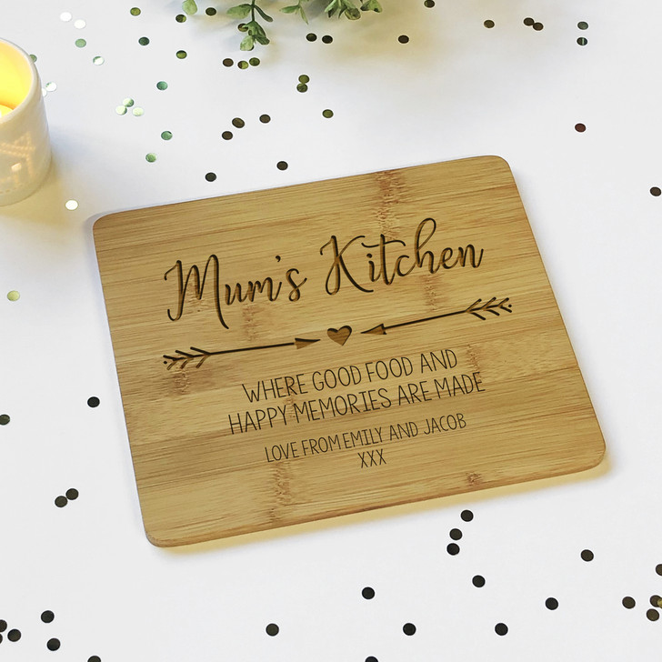 Personalised Mum's Kitchen Wooden Bamboo Chopping Board, Mother's Day or Birthday Gift