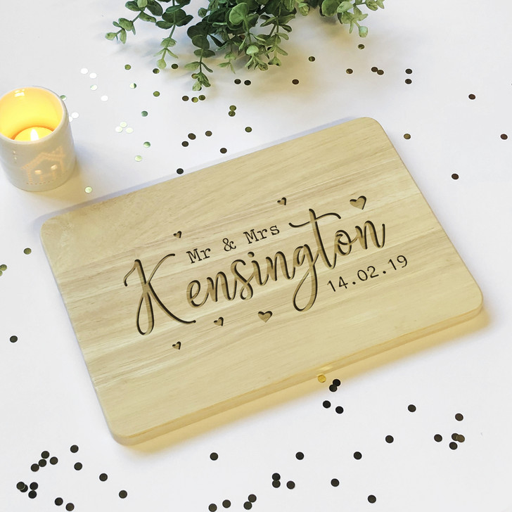 Personalised Wooden Mr & Mrs Chopping Board Design, Anniversary or Wedding Gift