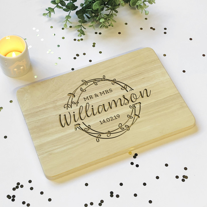 Personalised Mr & Mrs Surname Wooden Chopping Board With Date, Anniversary Gift