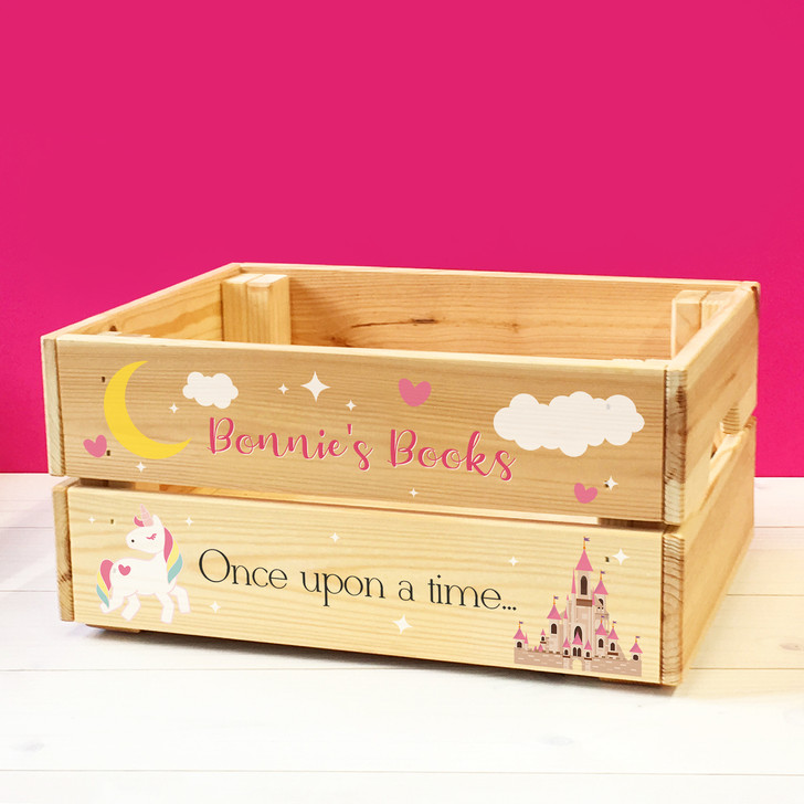 Personalised Children's Bedtime Story Book Box, Kids Wooden UNICORN Book Box Crate For GIRLS