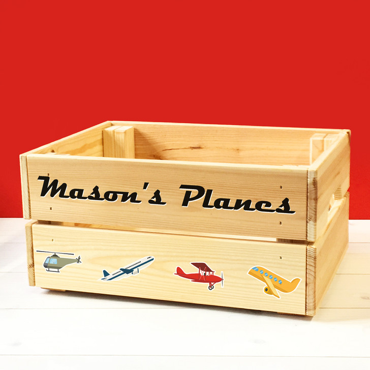 Personalised Kids Toy Planes & Helicopters Wooden Storage Toy Box Crate for Children