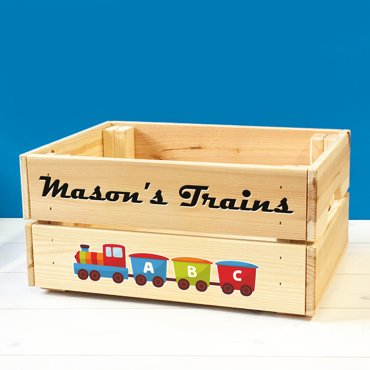 Personalised Kids Toy Train Set Wooden Storage Toy Box Crate for Children