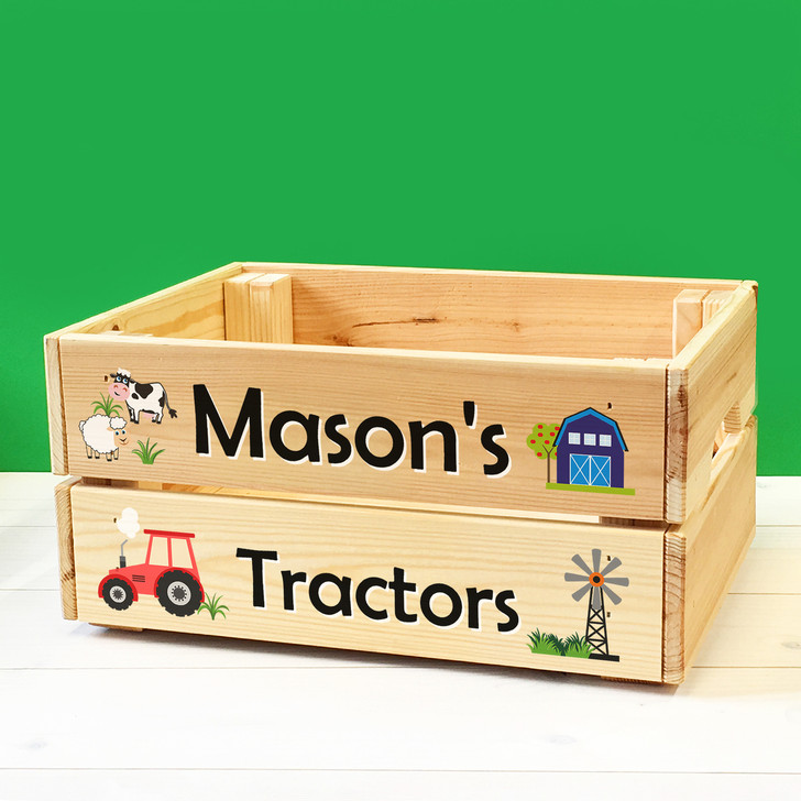 Personalised Kids Toy Farm Vehicles & Tractors Wooden Storage Toy Box Crate for Children