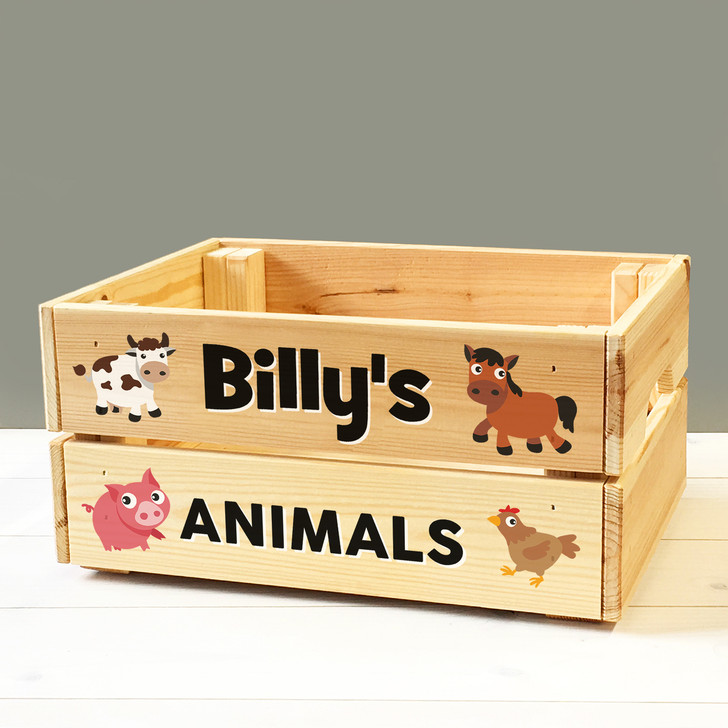 Personalised Farm Animals Toy Box, Wooden Storage Crate