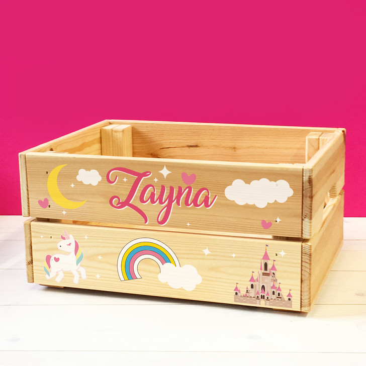 Personalised Kids Toy Unicorns & Fairy Tale Castle Wooden Storage Toy Box Crate for Children