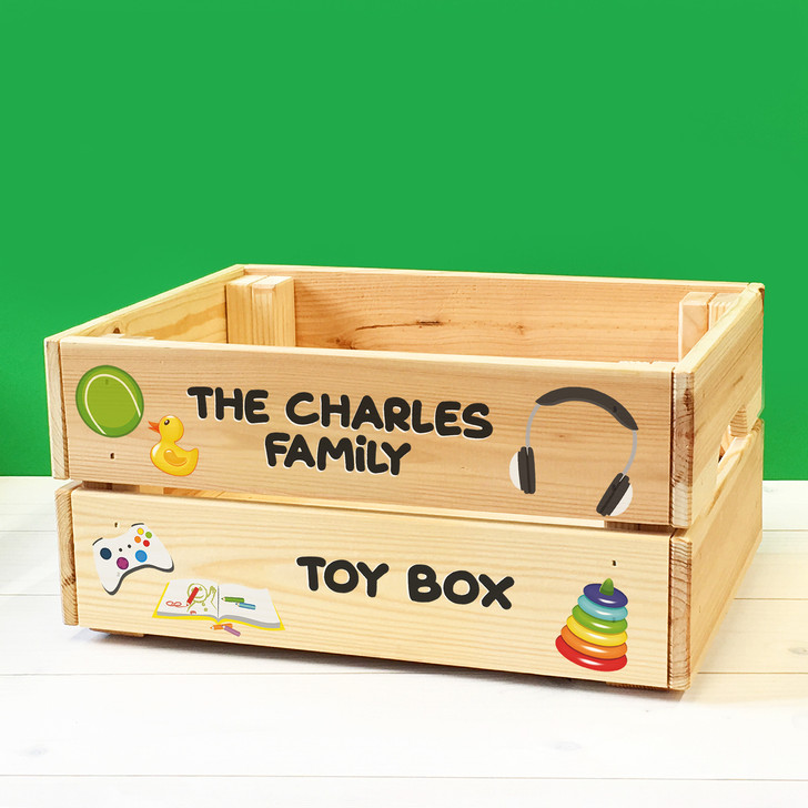 Personalised Kids Family Toys Wooden Storage Toy Box Crate for Children