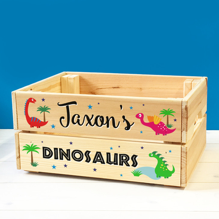 Personalised Kids Toy Dinosaurs & Dragons Wooden Storage Toy Box Crate for Children