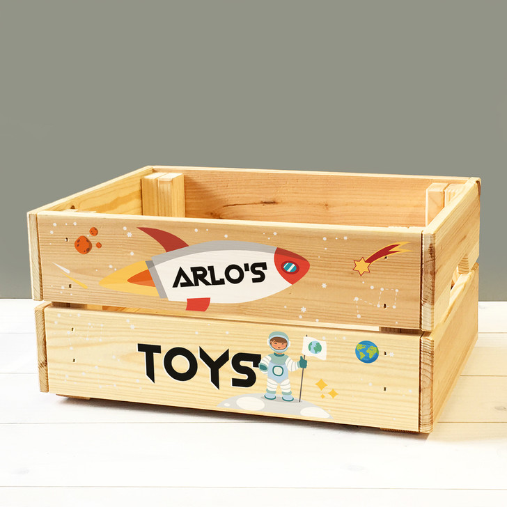 Personalised Kids Toy Space Rocket Ship & Astronaut Wooden Storage Toy Box Crate for Children