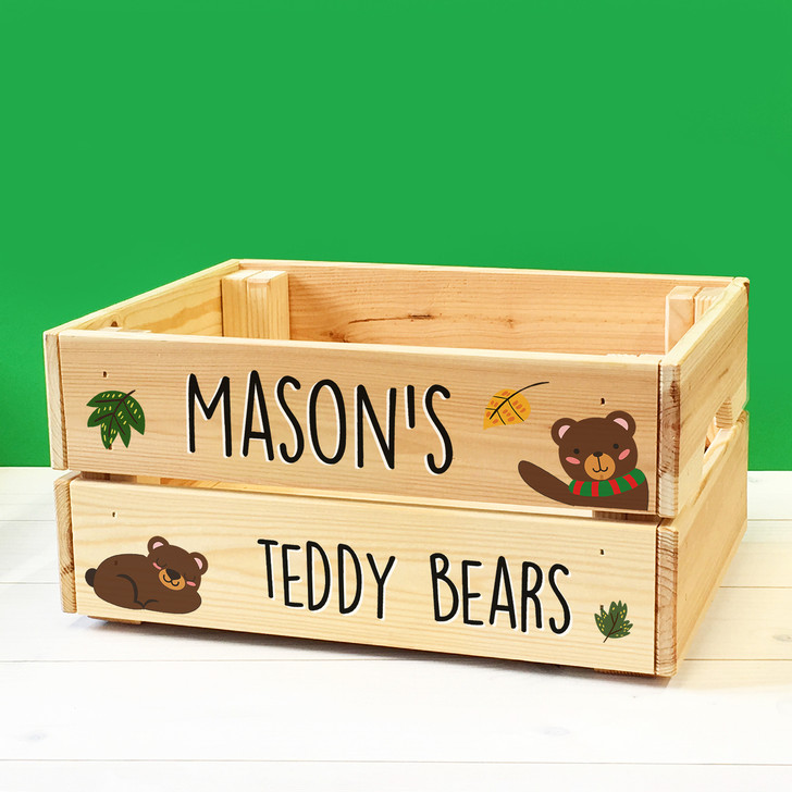 Personalised Kids Teddy Bears Wooden Storage Toy Box Crate for Children