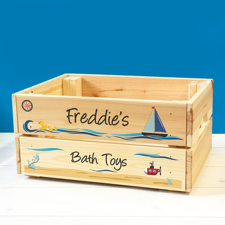 Personalised Children's Bath Toys Wooden Storage Toy Box Crate for Babies & Toddlers