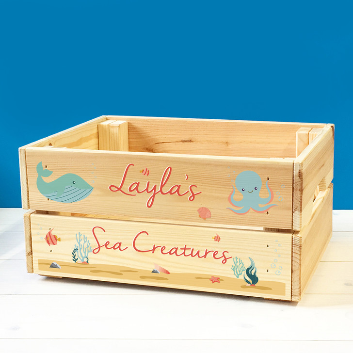 Personalised Babies & Toddlers Bath Toys Wooden Storage Sea Creatures Toy Box Crate
