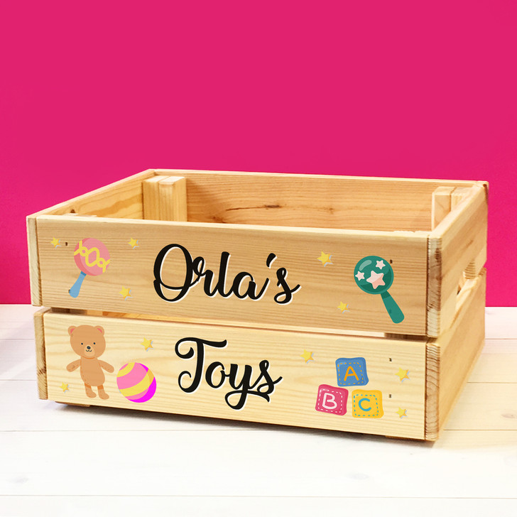 Personalised Babies & Toddlers Toys Wooden Storage Toy Box Crate For Children