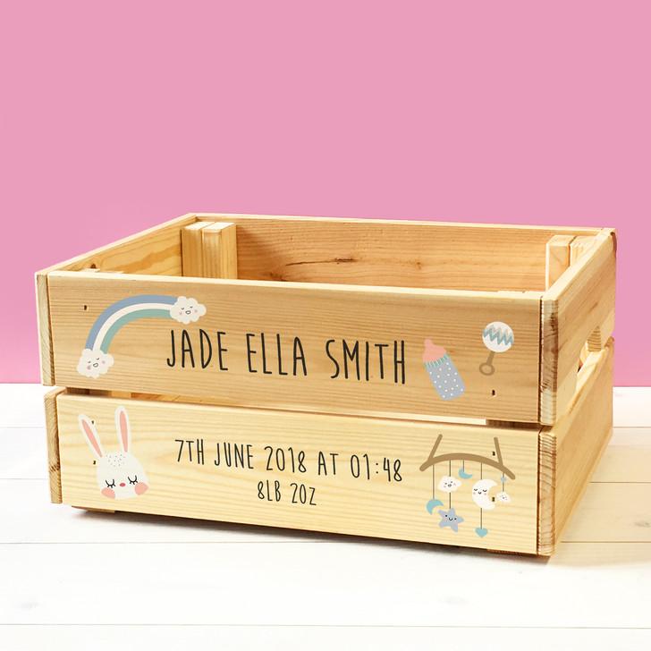 Personalised Keepsake Wooden Storage Crate For Babies & Toddlers