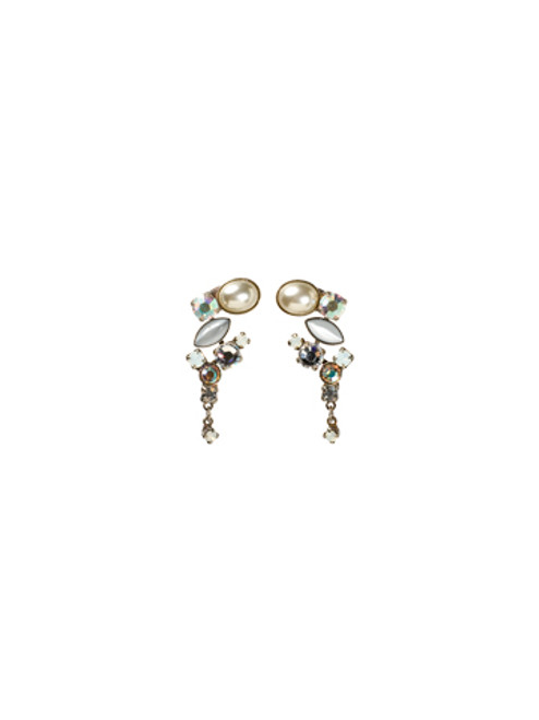 Sorrelli White Bridal Collection- Crystal and Opaque Stone Classic Drop Earrings~ EAZ11ASWBR