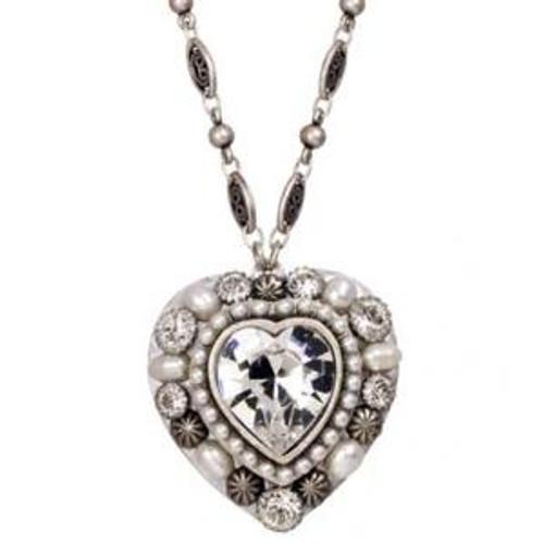 MICHAL GOLAN BRIDAL CRYSTAL HEART NECKLACE N2292