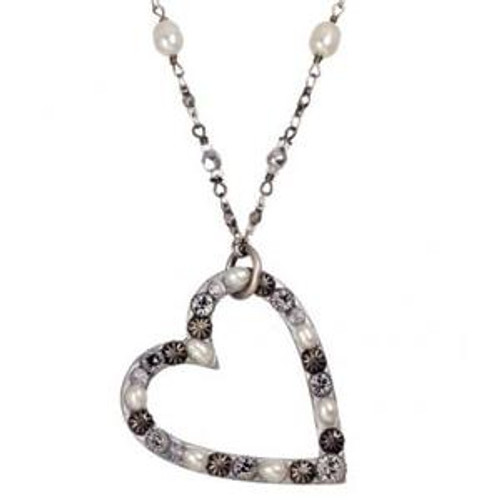 MICHAL GOLAN BRIDAL CRYSTAL HEART NECKLACE-N1279