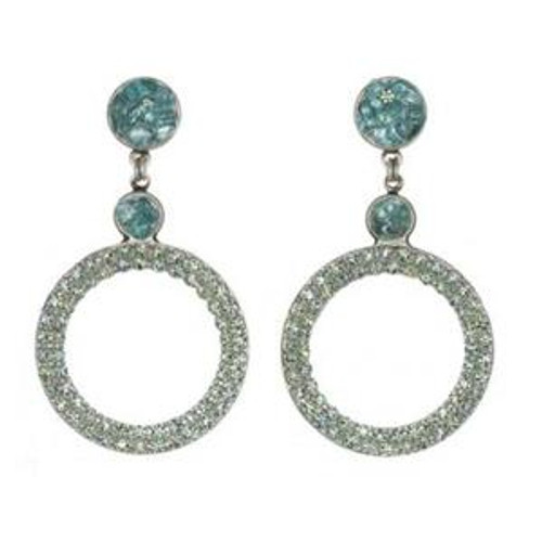 Michal Golan Aqua Marine Crystal Earrings s7212