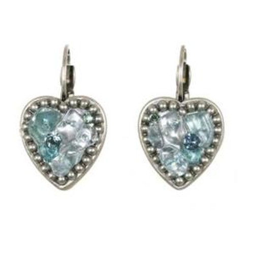Sterling Silver Michal Golan Aqua Marine Crystal Earrings