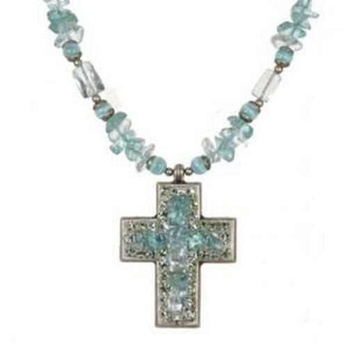 Michal Golan Aqua Marine Crystal Cross N2265