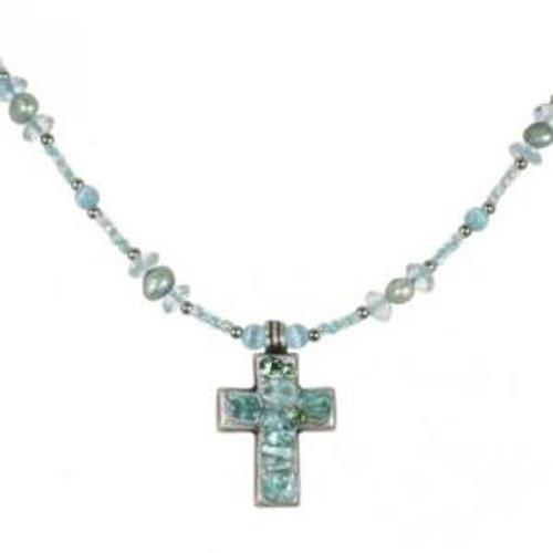 Michal Golan Aqua Marine Crystal Cross